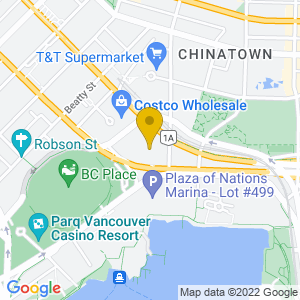 Map to Rogers Arena - Vancouver provided by Google