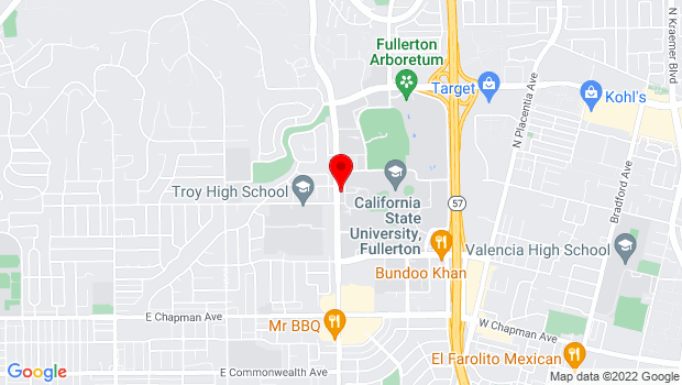 Google Map of 800 N State College Blvd, Fullerton, CA 92831