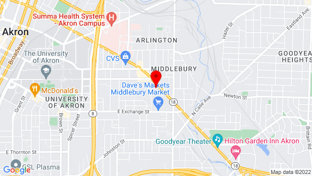 Google Map of 800 East Market Street, Akron, OH 44305