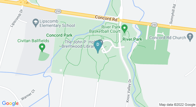 Static Google maps image of the Brentwood library location