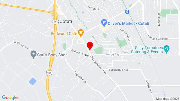 Google Map of 8505 Park Ave, Cotati, CA 94931