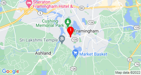 Google Map of 853 Waverly St. Framingham, MA 01702