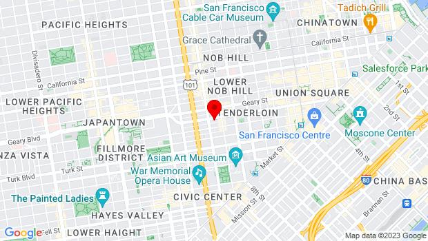 Google Map of 859 O'Farrell Street, San Francisco, CA