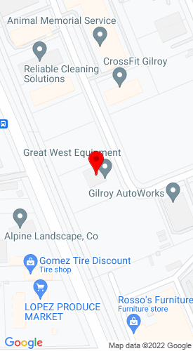 Google Map of Great West Equipment, Inc. 8821 Muraoka Drive, Gilroy, CA, 95020