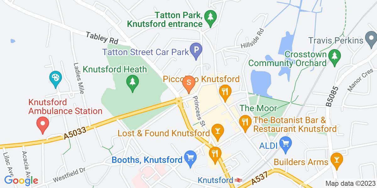 Google Map of 9-13 Canute Place Knutsford WA16 6BQ