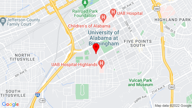 Google Map of 900 13th Street South in the UAB Humanities Building, Room 100, Birmingham, AL