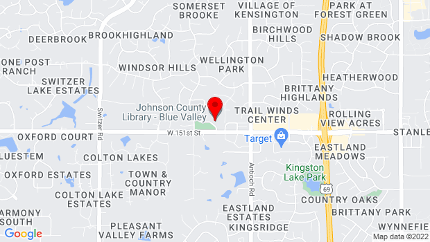 Google Map of 9000 151st St, Overland Park, KS 66221