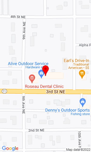 Google Map of Alive Outdoor Services 903 3rd Street NE, Roseau, MN, 56751