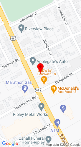 Google Map of Campbell Auctioneers 908 S Second St, Ripley, OH, 45167
