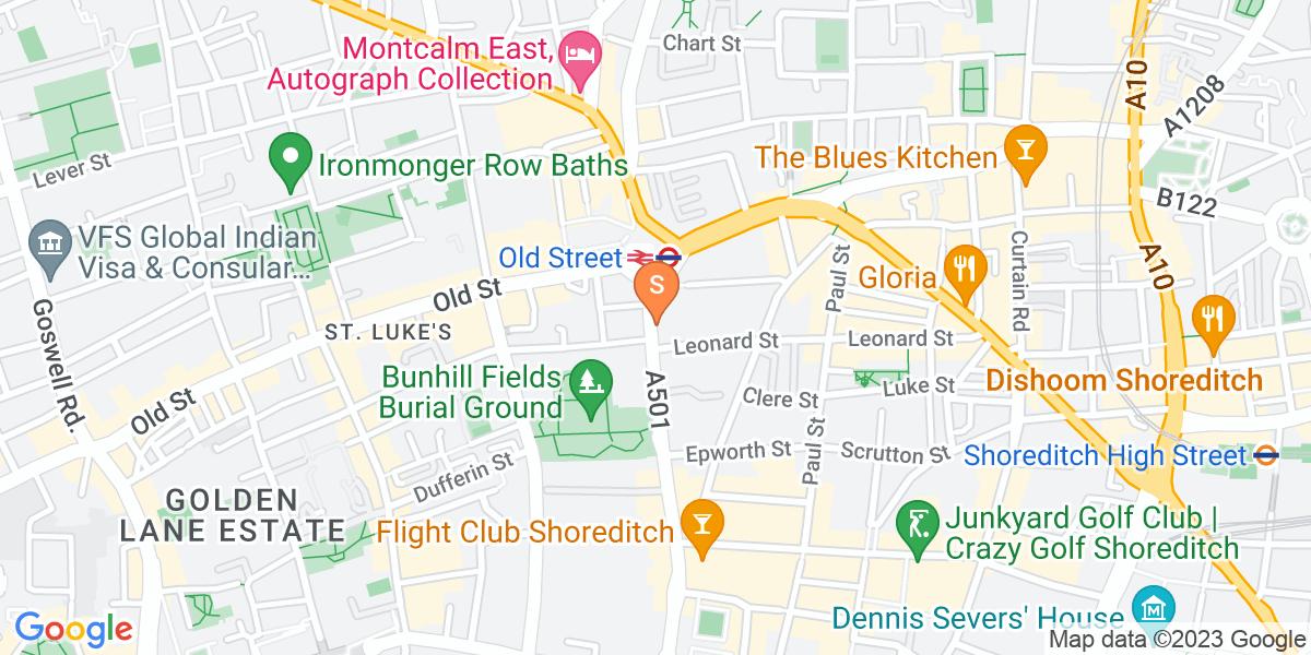 Google Map of 91 City Road London EC1Y 1BD