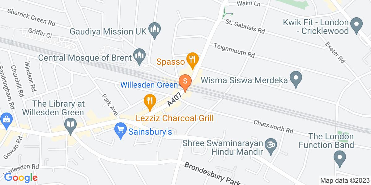 Google Map of 92 Walm Lane London NW2 4QY