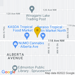 Map to Alberta Avenue Community Centre provided by Google
