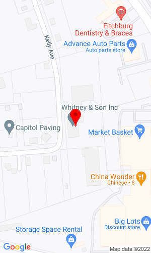 Google Map of Whitney & Son, Inc. 95 Kelley Avenue, Fitchburg, MA, 01420