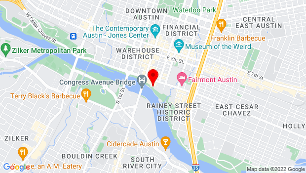 Google Map of 98 San Jacinto Boulevard, Austin, TX 78701
