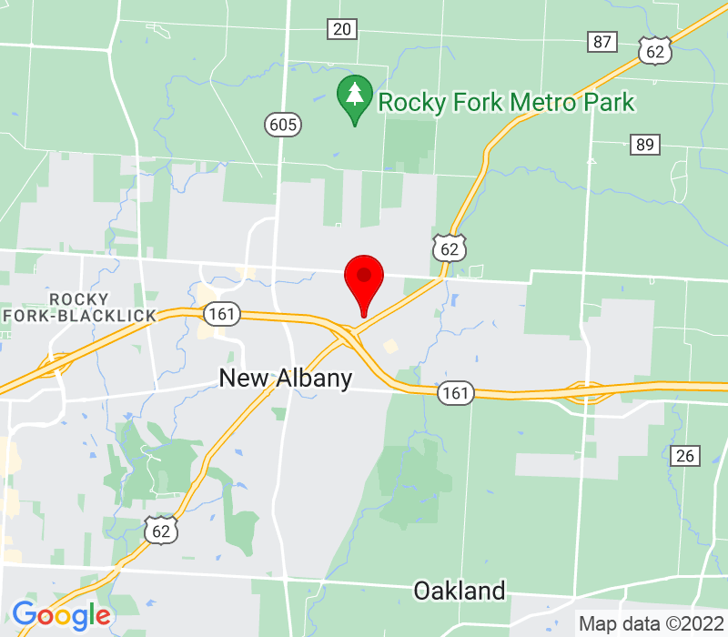 Click to view Google maps office address 9835 Johnstown Road, New Albany, OH 43054