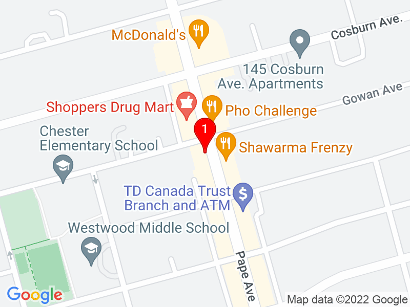 Google Map of 988 Pape Avenue, Toronto, ON