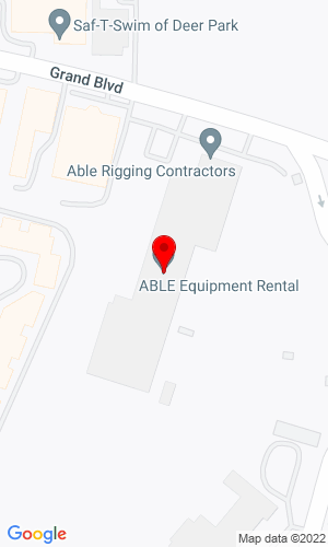 Google Map of ABLE Equipment Rental 1050 Grand Blvd., Deer Park, NY, 11729