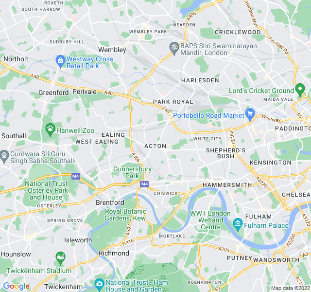Website Designer Acton Google map of location