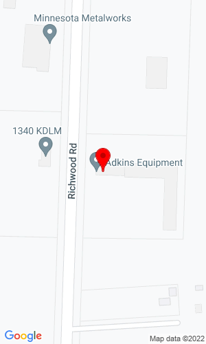Google Map of Adkins Equipment 18323 Hwy 21, Detroit Lakes, MN, 56501