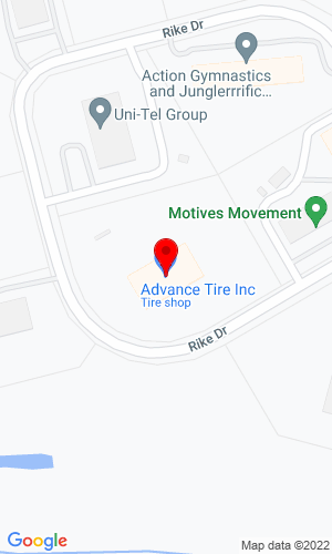 Google Map of Advance Tires Inc. 100 Rike Drive, Millstone Twp, NJ, 08535,