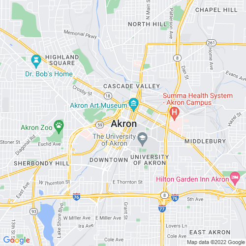 Map of Akron, OH