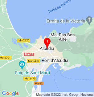 Google Map of Alcudia, Baleares, Spain