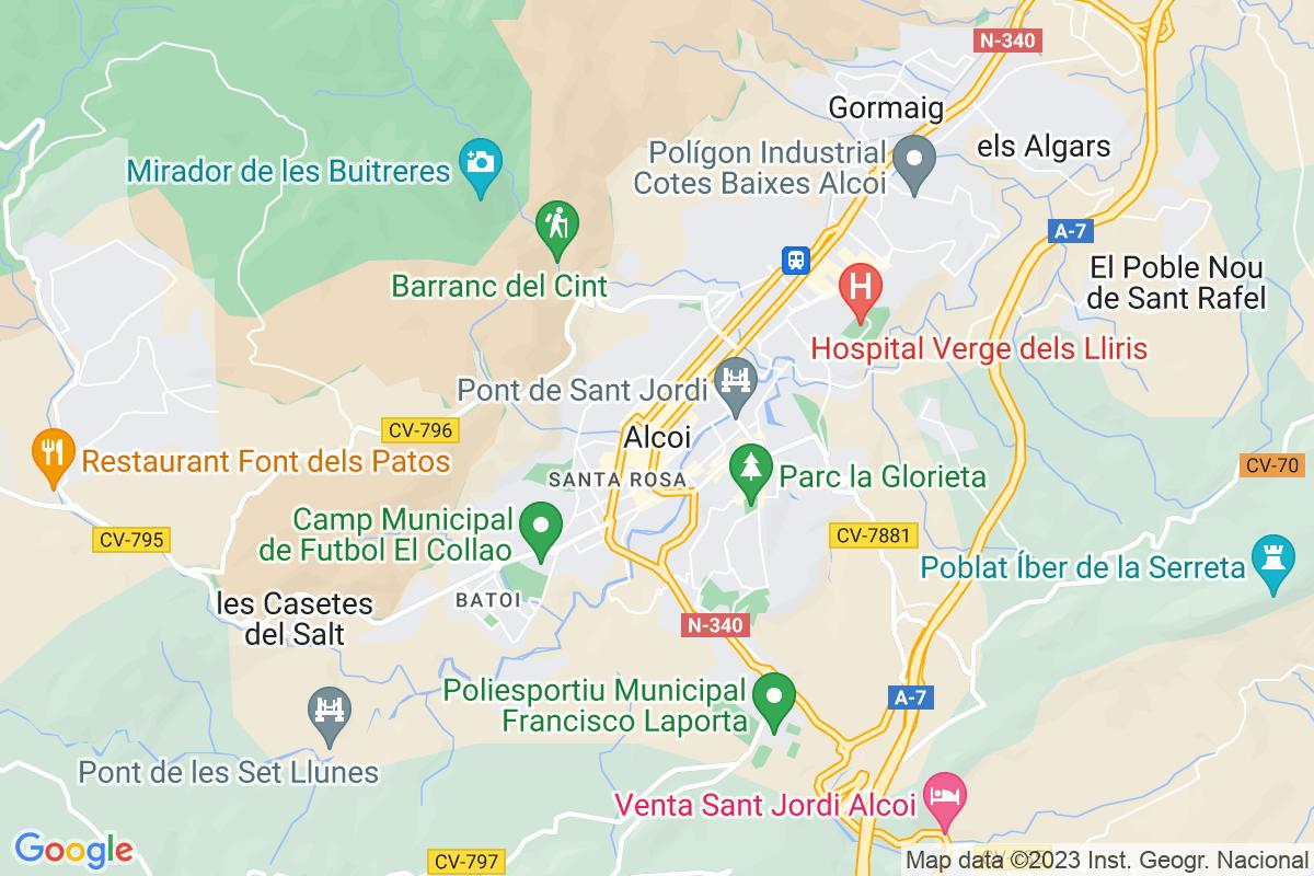 Mapa Alicante ALCOI/ALCOY