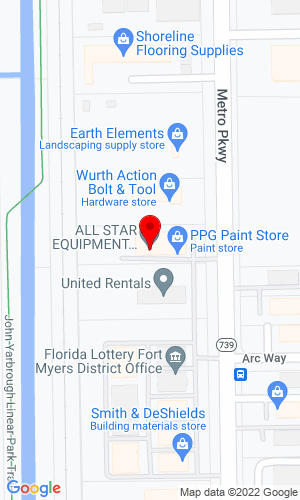 Google Map of All Star Equipment Rentals and Sales, Inc. 11680-B Metro Parkway, Fort Myers, FL, 33966