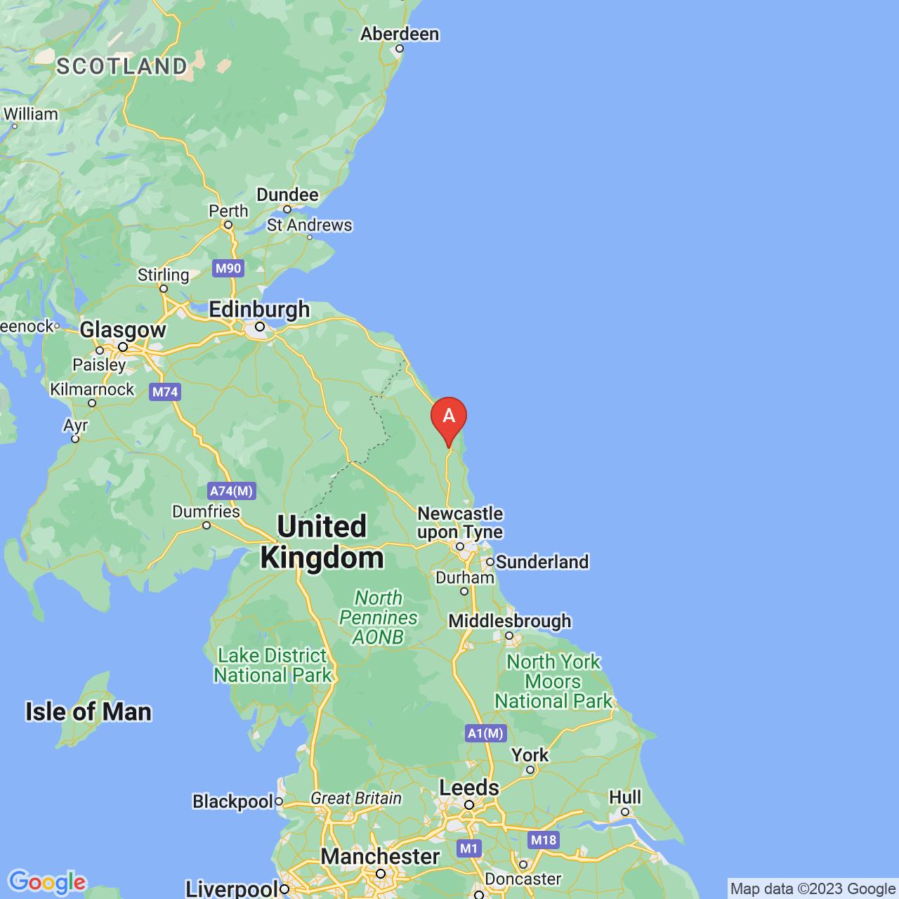 Alnwick, England Map