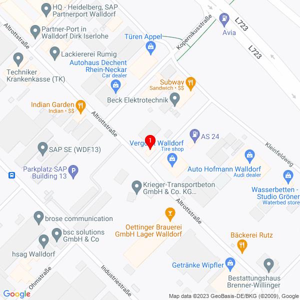 Google Map: Altrottstrasse 49, 69190 Walldorf