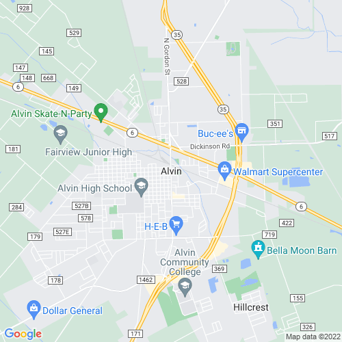 Map of Alvin, TX