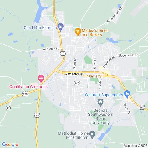 Map of Americus, GA