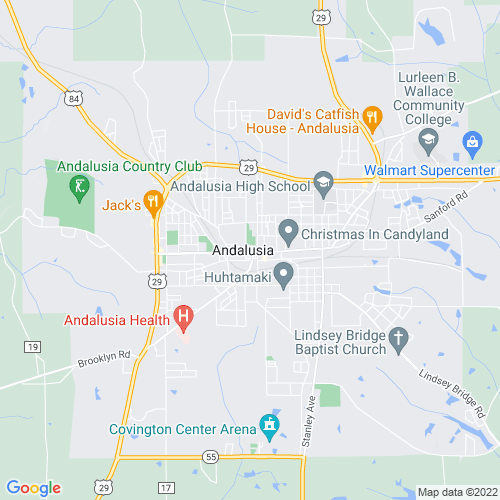Map of Andalusia, AL