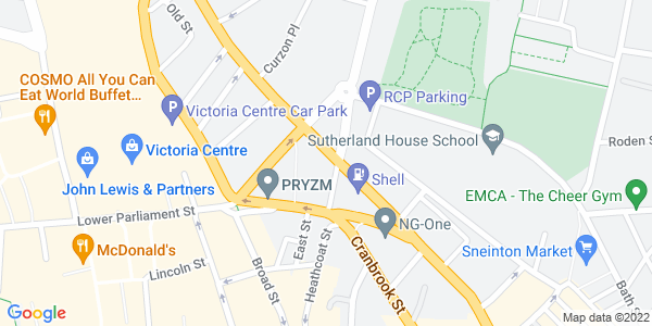 Static map of Antenna, Nottingham Antenna Media Centre Beck Street Nottingham NG1 1EQ, provided by Google