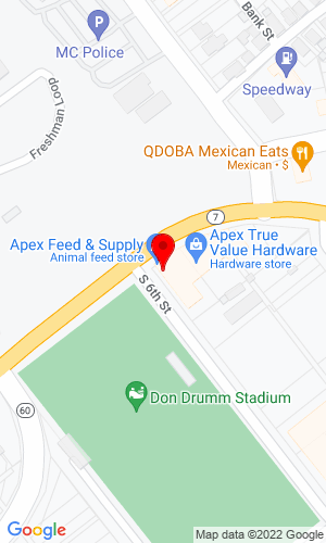 Google Map of Apex Feed & Supply, Inc. 600 Greene Street, Marietta, OH, 45750