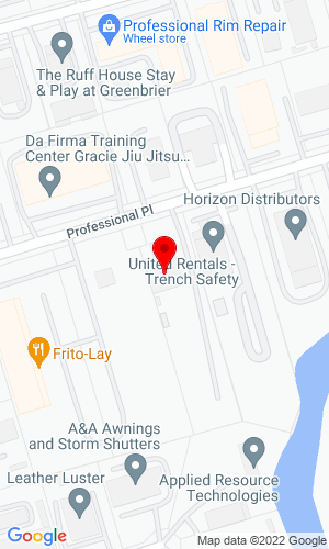 Google Map of Area Equipment, LLC 921 Professional Place , Chesapeake, VA, 23320