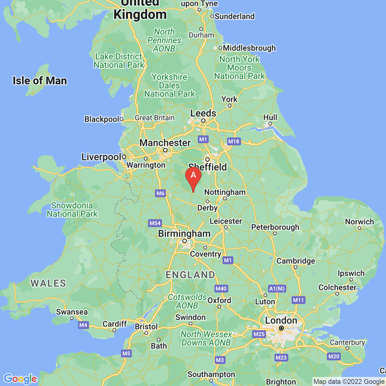 Ashbourne, England Map
