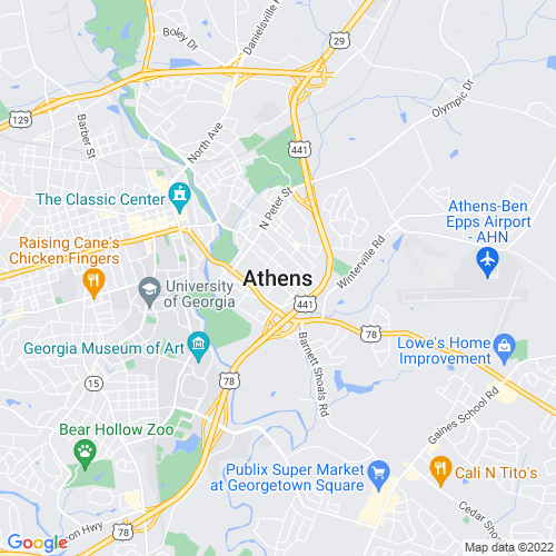 Map of Athens, GA