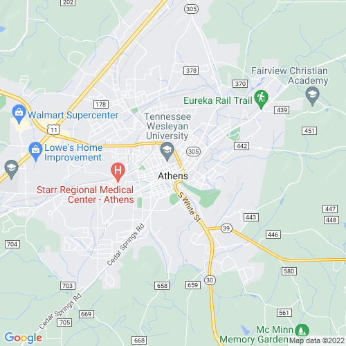 Map of Athens, TN
