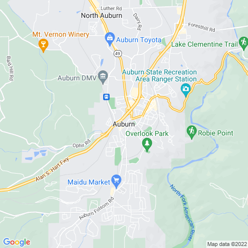 Map of Auburn, CA