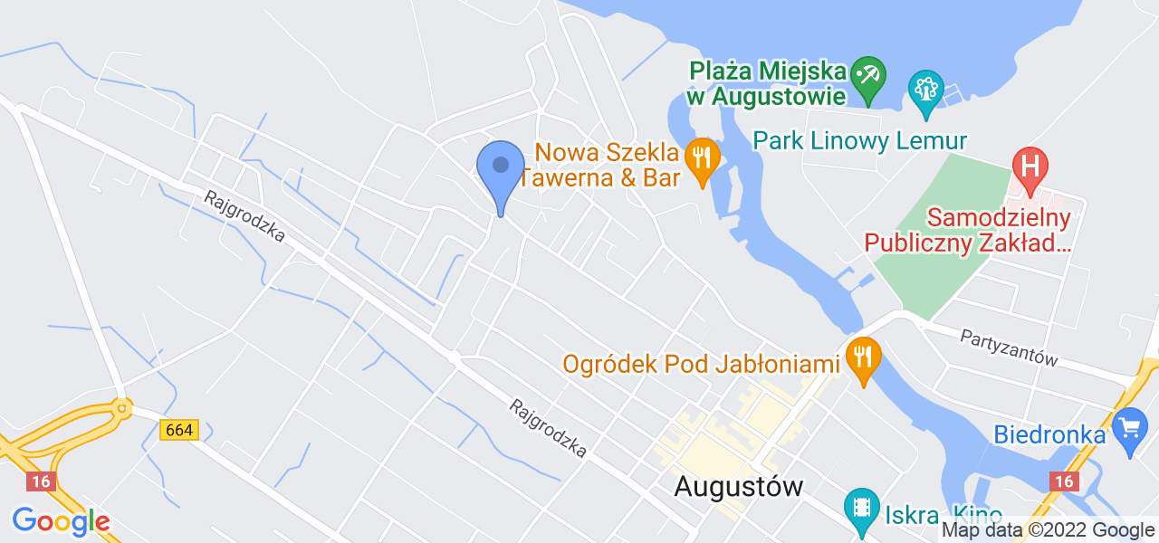 Jedna z ulic w Augustowie – Nowomiejska i mapa dostępnych punktów wysyłki uszkodzonej turbiny do autoryzowanego serwisu regeneracji