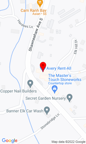 Google Map of Avery Rent-All 1829 Tynecastle Highway, Banner Elk, NC, 28604