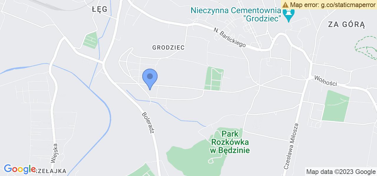 Jedna z ulic w Będzinie – Ludomira Różyckiego i mapa dostępnych punktów wysyłki uszkodzonej turbiny do autoryzowanego serwisu regeneracji