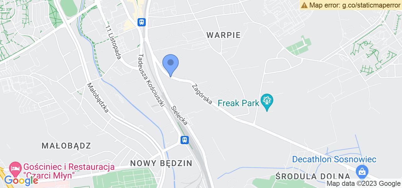 Jedna z ulic w Będzinie – Zagórska i mapa dostępnych punktów wysyłki uszkodzonej turbiny do autoryzowanego serwisu regeneracji