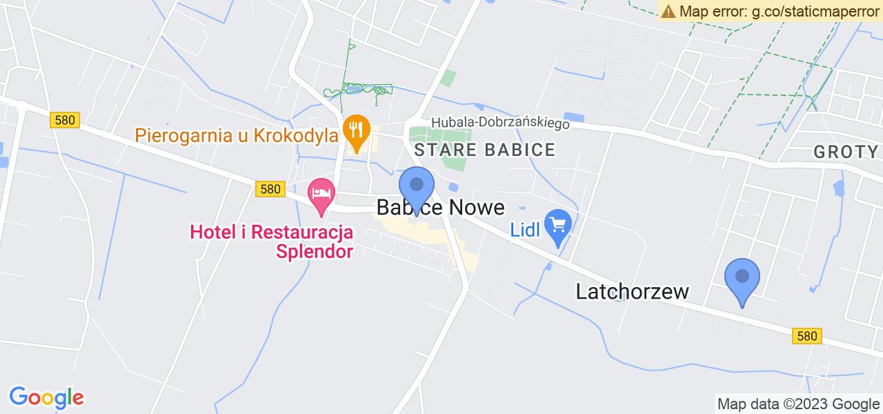 Jedna z ulic w Babicach Nowych – Warszawska i mapa dostępnych punktów wysyłki uszkodzonej turbiny do autoryzowanego serwisu regeneracji
