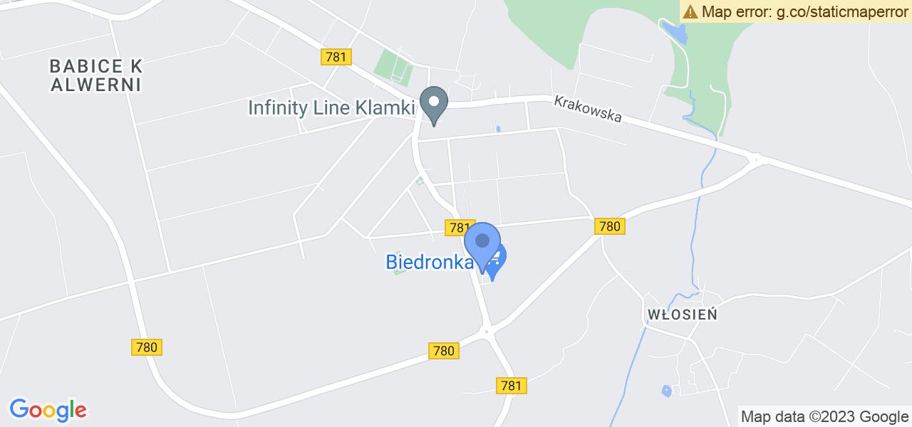 Jedna z ulic w Babicach – Zakopiańska i mapa dostępnych punktów wysyłki uszkodzonej turbiny do autoryzowanego serwisu regeneracji
