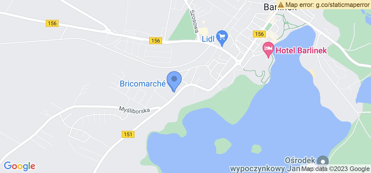 Jedna z ulic w Barlinku – Gorzowska i mapa dostępnych punktów wysyłki uszkodzonej turbiny do autoryzowanego serwisu regeneracji