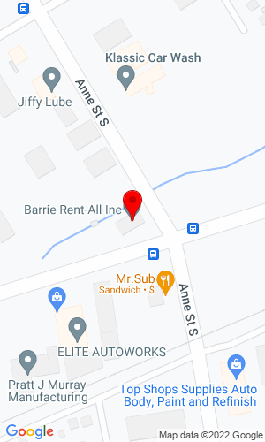Google Map of Barrie Rent All 134 Tiffin Street, Barrie, ON, L4N 2N4