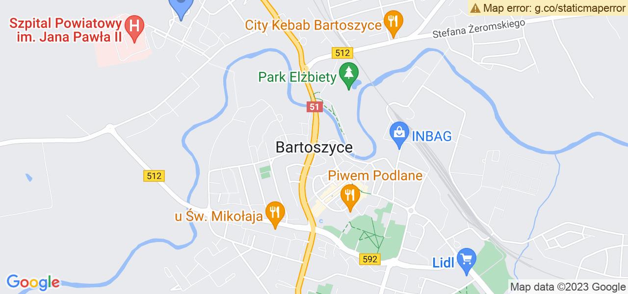 Jedna z ulic w Bartoszycach – Mirosława Chilmanowicza i mapa dostępnych punktów wysyłki uszkodzonej turbiny do autoryzowanego serwisu regeneracji
