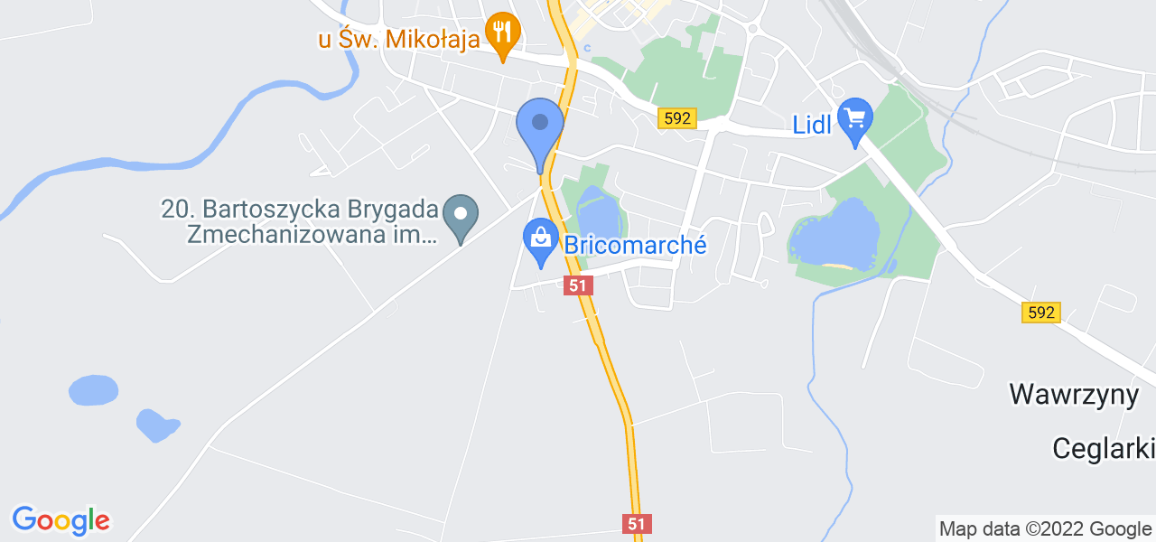 Jedna z ulic w Bartoszycach – Warszawska i mapa dostępnych punktów wysyłki uszkodzonej turbiny do autoryzowanego serwisu regeneracji